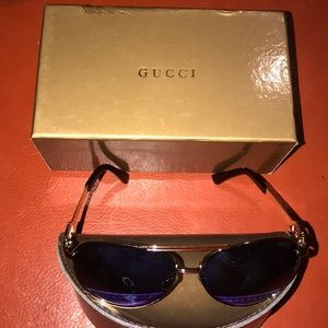 New Gold Gucci Aviator Sunglasses w/Case & Box